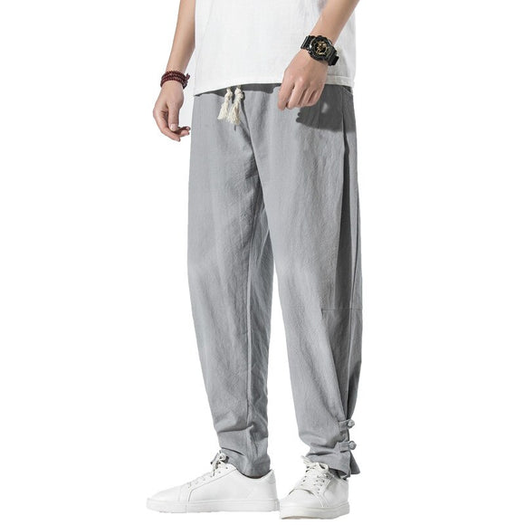 Chinese Style 2020 Summer Men Harajuku Pants Mens Casual Harem Pants Male Thin Loose Elastic Waist Ankle-Length Pants