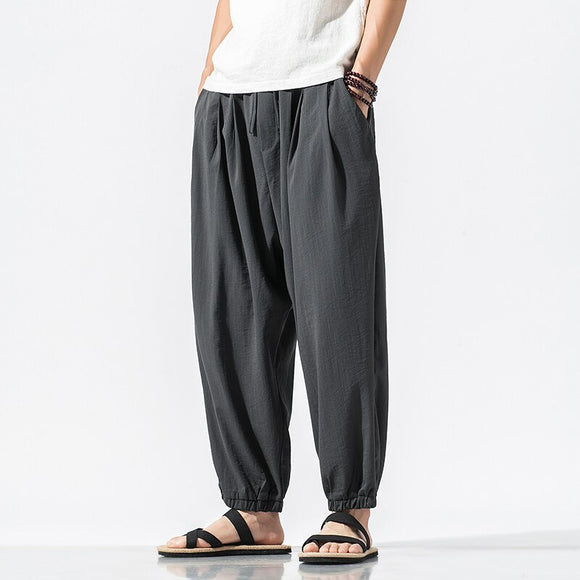 2020 Summer Cotton Linen Harem Pants Men Casual Hip Hop Cross Trousers Bloomers Male Joggers Streetwear Ankle-Length Pants 5XL