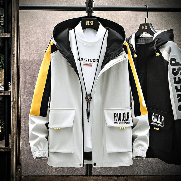 New Autumn 2020 Casual jacket Korea Fashion Trend Hooded Jackets Streetwear Printing Logo Big Pockets Plus Size Drop Shipping