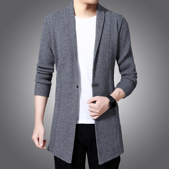 Cardigan Sweater Men Autumn X-long Knit Sweater Jackets Fahison Single Button Knitted Sweatercoat Mens Causal Cardigan Sweater