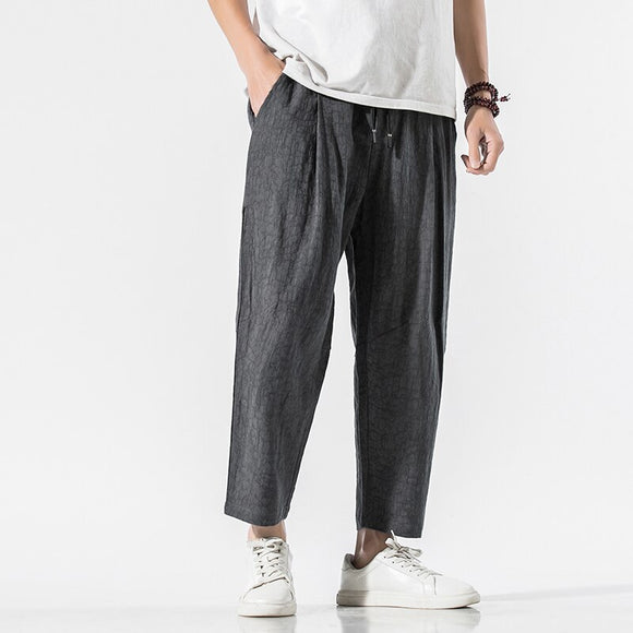 Men Harem Pants 2020 Mens Cotton Linen Casual Ankle-Length Pants Chinese Style Summer Male Oversize Vintage Trousers  M-5XL