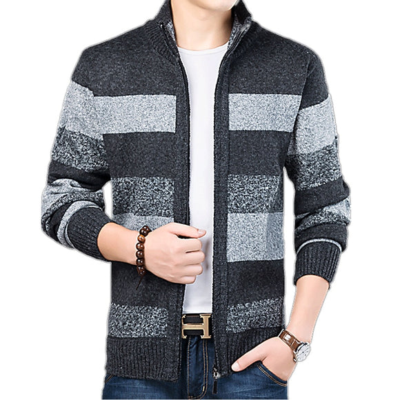 New Mens Cardigan Fashion Slim Fit Sweater Men Knitted Warm Thick Cardigan Coat Male Casual Brand Clothing Striped Sweaters Coat