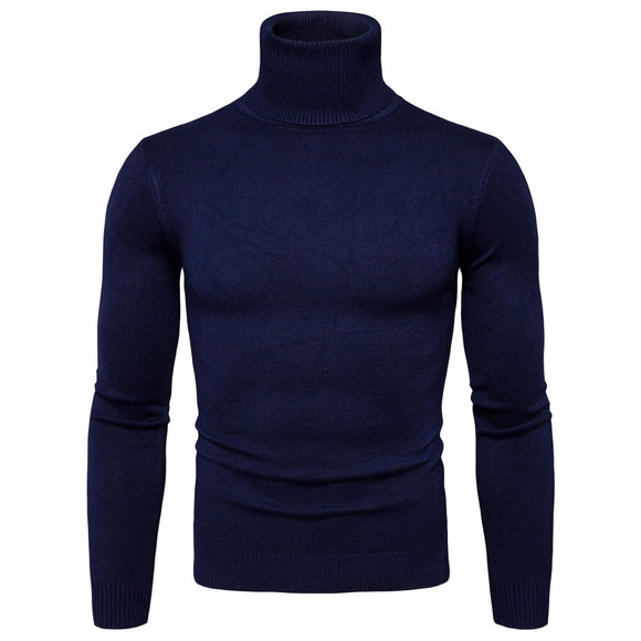 Mens Turtleneck Winter Warm Sweater Men pullover sweater Solid Knitted Mens Sweaters Casual Male Double Collar Slim Fit Pullover