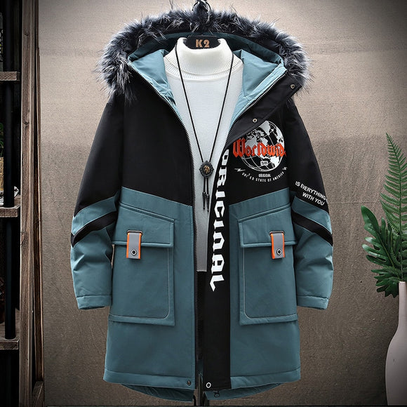 New 2020 Winter Warm Jacket Youth Fashion Trend Popular Logo Casual Coats Men Cotton Padded Jackets Plus Size Drop Shipping