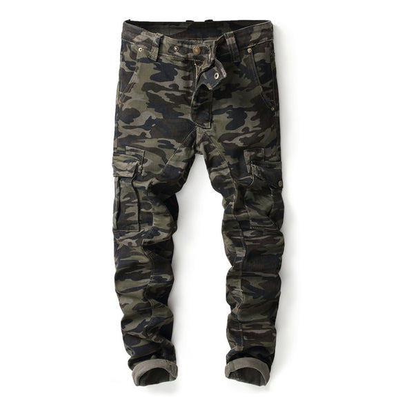 Mens Military Cargo Pants Zipper Joggers Camouflage Tactical Pants Man Streetwear Sweat Pant Good Quality Comfortable Trousers