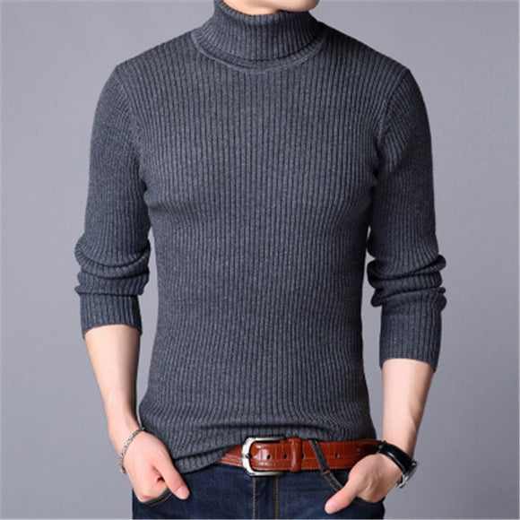 Sweater Men Winter Turtleneck Thick Warm Sweater Brand Mens Sweaters Slim Fit Pullover Men Knitwear Male Double Collar Pullovers