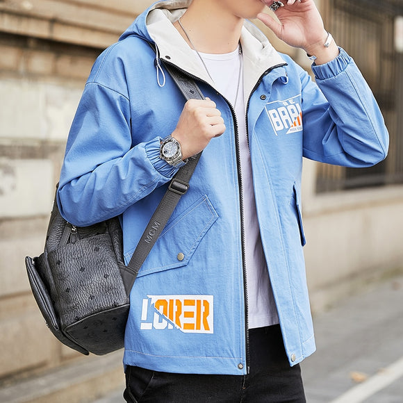 Jacket Men 2020 Spring Autumn New style Youth Combination Color Korean Version Streetwear Fashion Casual Jacket Hooded Coat Men
