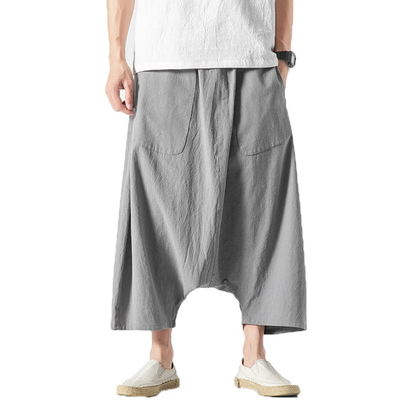 Cotton Linen Men Wide Leg Pants  Summer Men Casual Calf-Length Pants Male Track Pants  Solid Big Pocket Baggy Pants Trousers