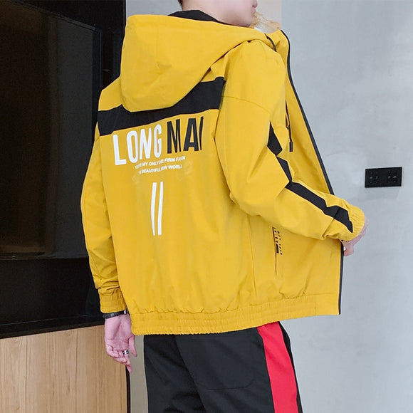 Jacket Men 2020 New Fashion Yellow Hooded Jacket Men's Windbreak Coat Male Outerwear Hip Hop Jackets High Quality Plus Size