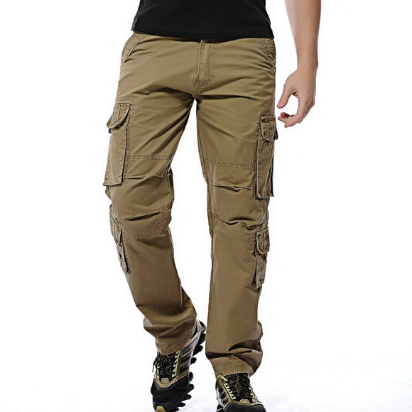2020 Mens Pants Loose army tactical pants Multi-pocket trousers military Solid color cargo pants for men pantalon homme Plus 46