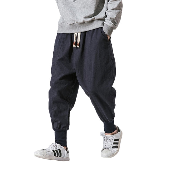 Men Winter Warm Fleece Pants Men Cotton Linen Trousers Streetwear Sweatpants Men Joggers Pantalon Homme Harem Pants M-5XL