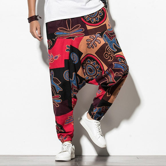 2020 Men Harem Pants Mens Printed Elastic Waist Joggers Pants Male Vintage Streetwear Baggy Drop-crotch Trousers Wide Leg Pants