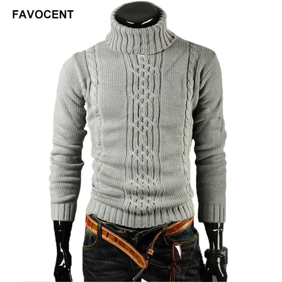 FAVOCENT Male Sweater Pullover Men 2020 Male Brand Casual Slim Sweaters Men Solid High Lapel Jacquard Hedging Men'S Sweater XXL