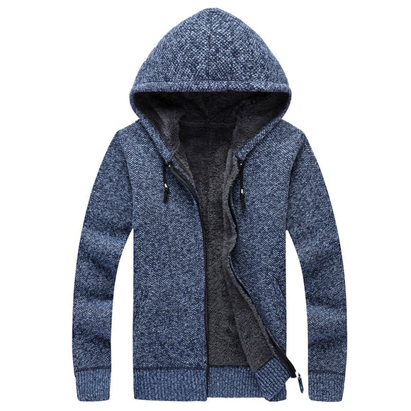 Winter Men Sweatercoat Hooded Cardigan Mens Thick Velvet Jacket Casual Knitted Sweater Mens Cardigan Winter Sweater Man Clothes