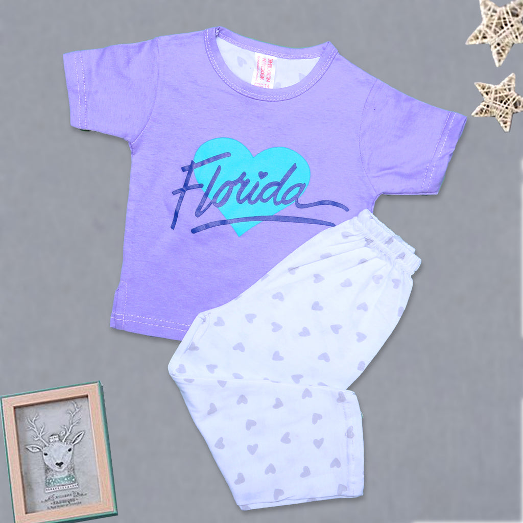 Girls Night Suit H/S Color Light-Purple-A