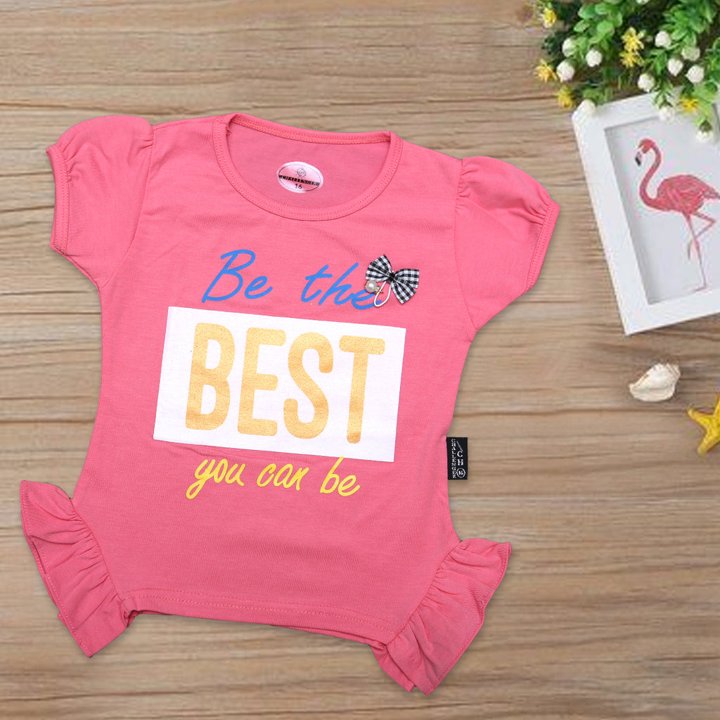 Girls Printed T-Shirt Color T-Pink ( Be The Best You Car Be )