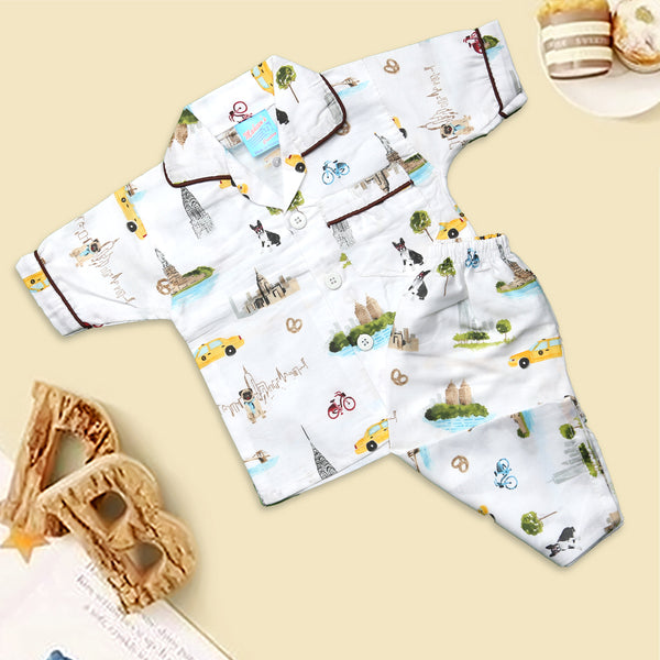 Infant Unisex Night Suit Color White-M