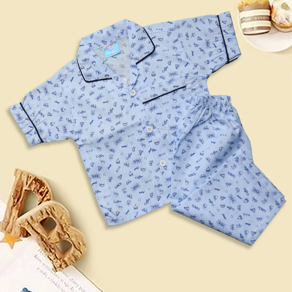 Infant Unisex Night Suit Color Blue-C