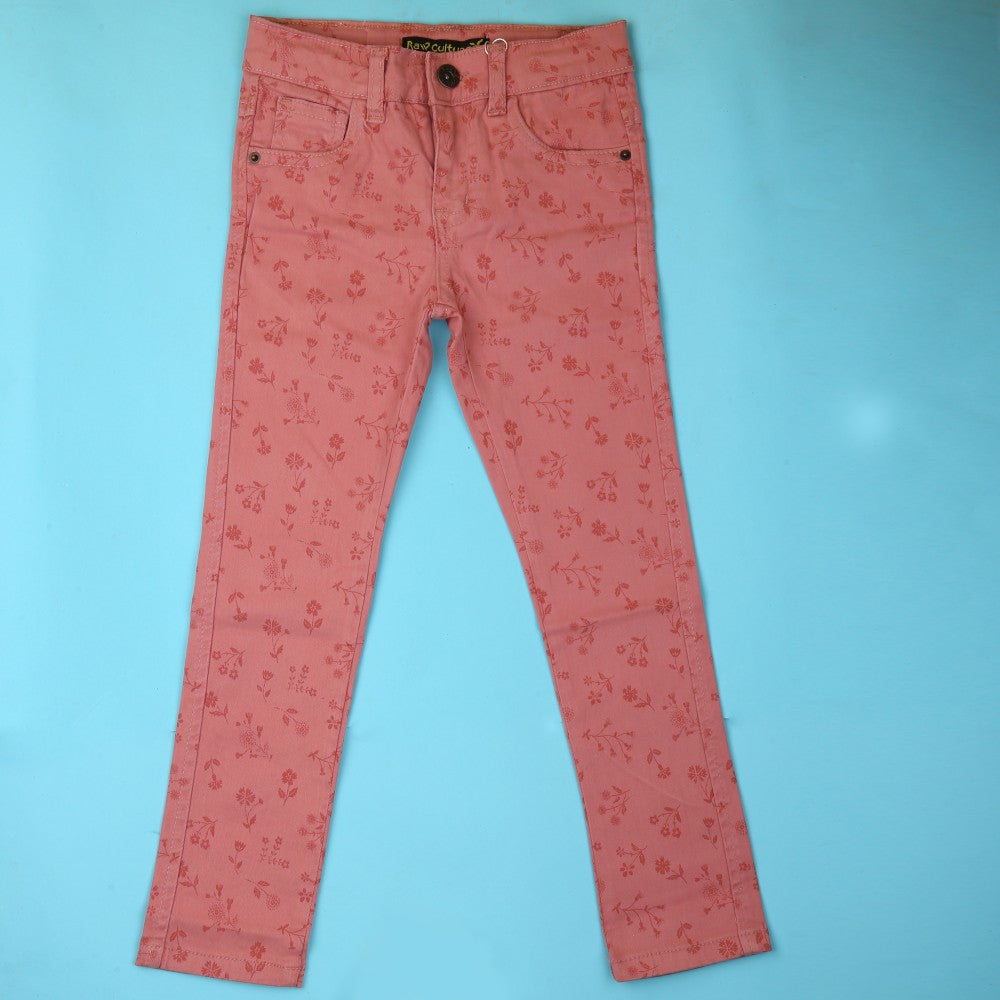 Girls Cotton Printed Pant - T-Pink