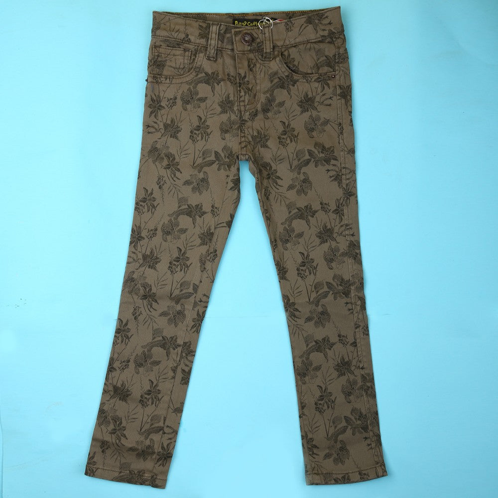 Girls Cotton Printed Pant - Olive