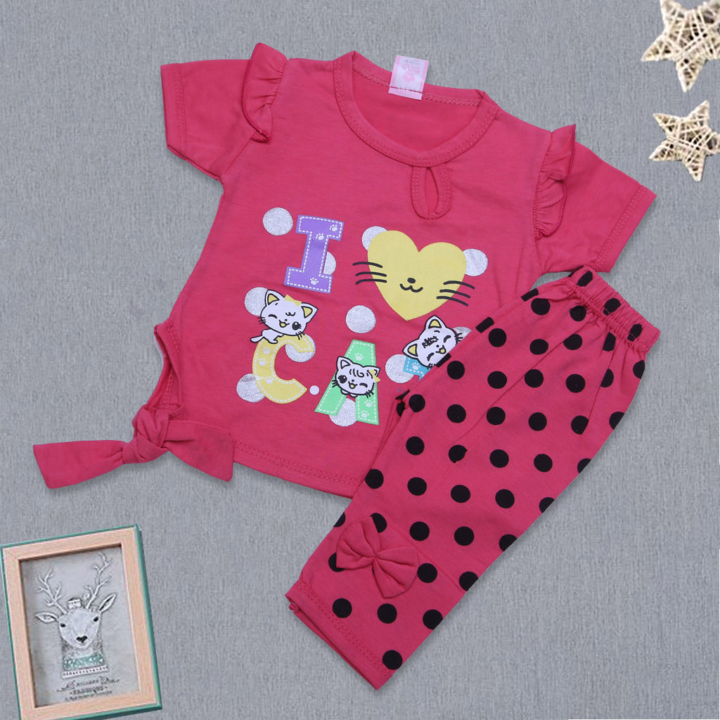 Newborn Girls Half Sleeves Suit ( I Love Cat )