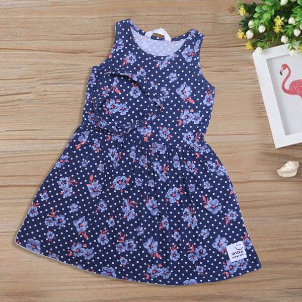 Baby Printed Frock Color Navy-Blue