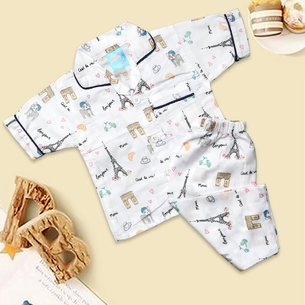 Infant Unisex Night Suit Color White-H