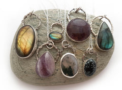 A selection of crystal necklaces