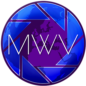 Midland Web & Video Logo. Purple circle with blue apertures and MWV in the centre.