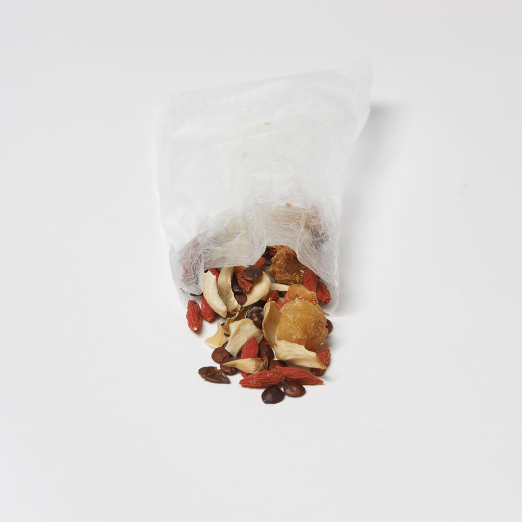 Raw chinese herbs for insomnia. Long yan fruit, suan zao ren, goji berry, lily bulb.