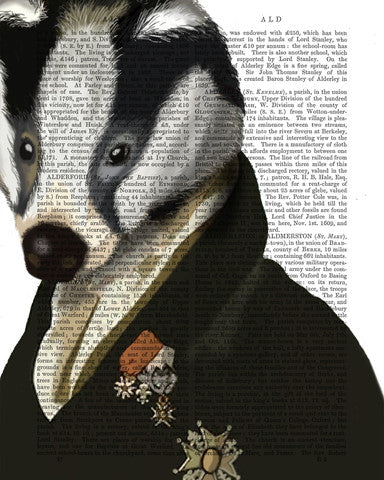 Fabfunky Antiquarian Dictionary Book Prints: Badger | Lush Labels