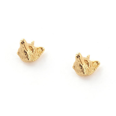 Fox Head Gold Plated Sud Earrings | Bill Skinner