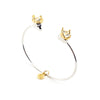 King & Queen Skulls with Crowns Bangle Bracelet | Bill Skinner