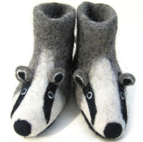 Billie the Badger Children's Handmade Felt Animal Slippers
