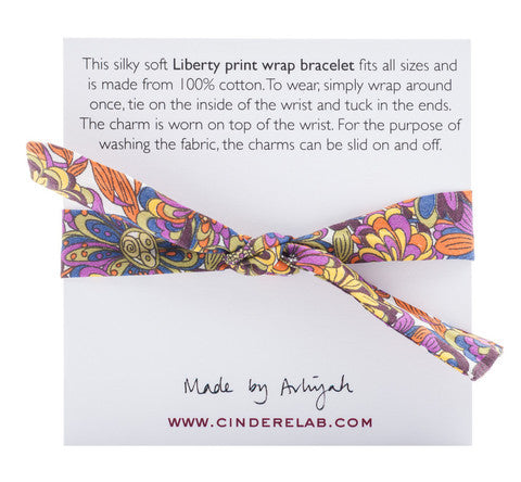 CINDERELA B Liberty of London print fabric Wrap Bracelet & Dragonfly Charm
