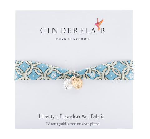 CINDERELA B Liberty of London Print fabric Wrap Bracelet & double Sun Disc Charm