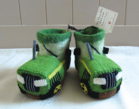 SEW HEART FELT Fergie the Tractor Children's Handmade Felt Animal Slippers