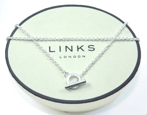 LINKS OF LONDON Sterling Silver T Bar & Hoop Chain Necklace in 3 different lengths: 40, 45 or 50cm