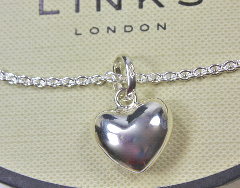 Links of London Sterling Silver Love Heart Charm on T Bar Chain Bracelet