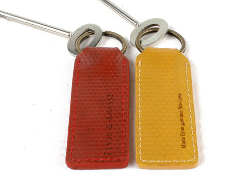 ELVIS & KRESSE London Fire Brigade Red or Yellow Fire Hose Keyring / Keyfob