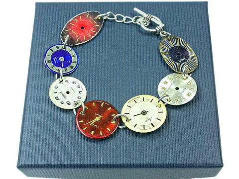 MONKEY SHIRLEY Steampunk Vintage 7 Watch Face Bracelet: Red Blue Cream