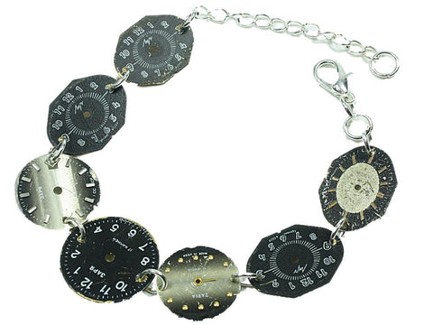 MONKEY SHIRLEY Steampunk Vintage 7 Watch Face Bracelet: Black Grey