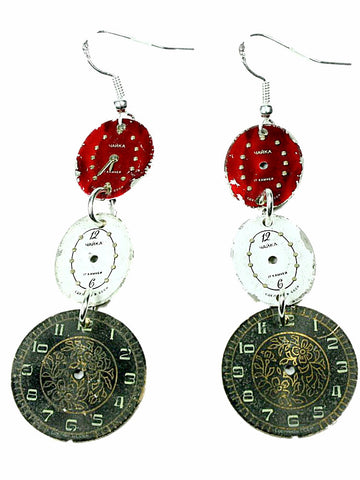 MONKEY SHIRLEY Steampunk Vintage Watch Face Earrings: 3 Drop (Green White Red)
