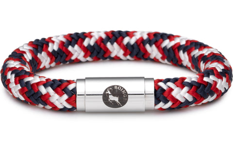 BOING Rope Wristband Bracelet: Chunky BULLDOG - Blue, Red, White