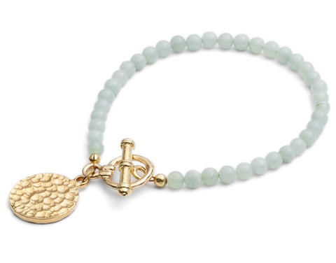 CINDERELA B Amazonite Gemstone & Ancient Coin Gold Plate Charm Bracelet