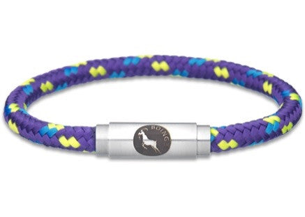 BOING Climbing & Sailing Rope Wristband Bracelet: Skinny PURPLE ALL SORTS - Purple, Yellow, Blue