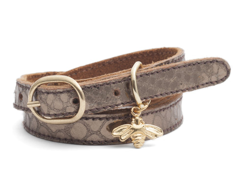 CINDERELA B Metallic Mink Leather Wrap Wristband Bracelet & choice of Charm