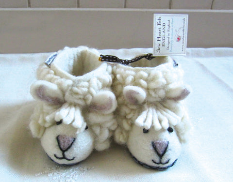 SEW HEART FELT Shirley the Sheep Baby's Handmade Felt Animal Slippers