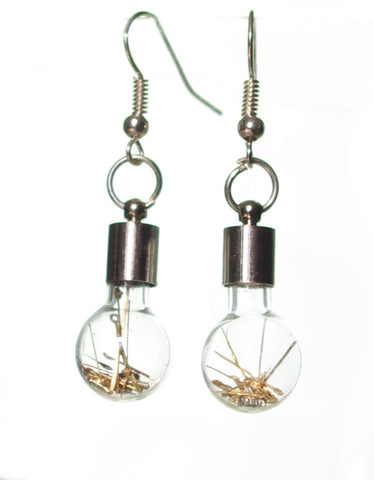 MONKEY SHIRLEY Steampunk Glass Light Bulb style Retro Earrings