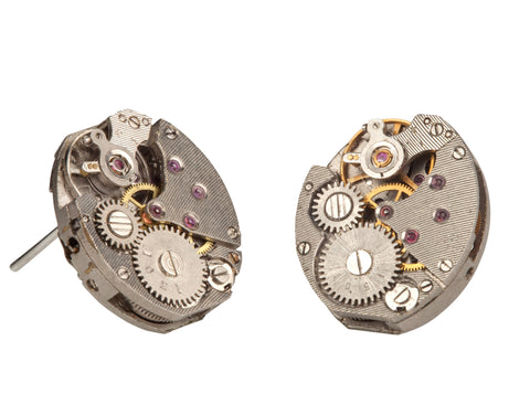 MONKEY SHIRLEY Steampunk style Watch movement Stud Earrings